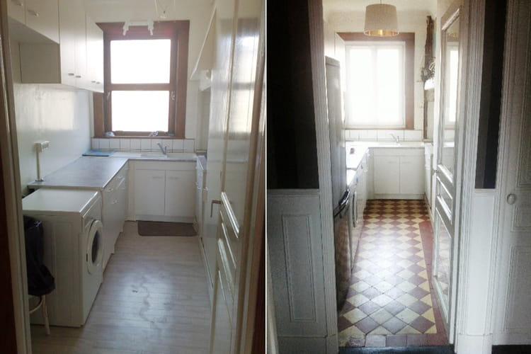 avant une cuisine en enfilade avant apr s la renaissance d 39 un appartement de style 1910. Black Bedroom Furniture Sets. Home Design Ideas