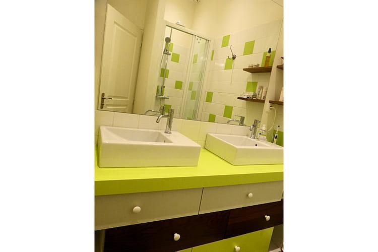 une salle de bains verte et acidul e visitez la maison de fran oise journal des femmes. Black Bedroom Furniture Sets. Home Design Ideas
