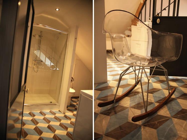 Sol en 3d dans la salle de bains une suite parentale scandinave sous les toits journal des for Comfemme nue dans la salle de bain