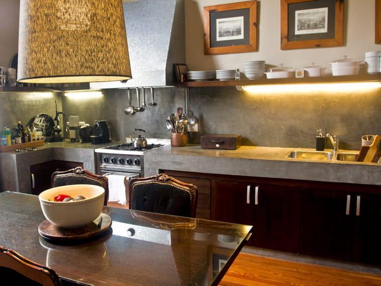 cuisine en bois et b ton utiliser le bois dans sa cuisine journal des femmes. Black Bedroom Furniture Sets. Home Design Ideas