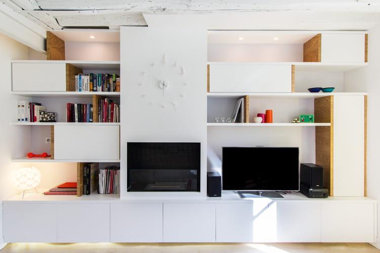 une biblioth que sur mesure ultra blancheur dans un deux pi ces journal d. Black Bedroom Furniture Sets. Home Design Ideas