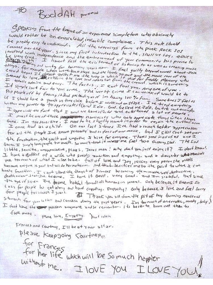 La lettre de suicide laissée par Kurt Cobain