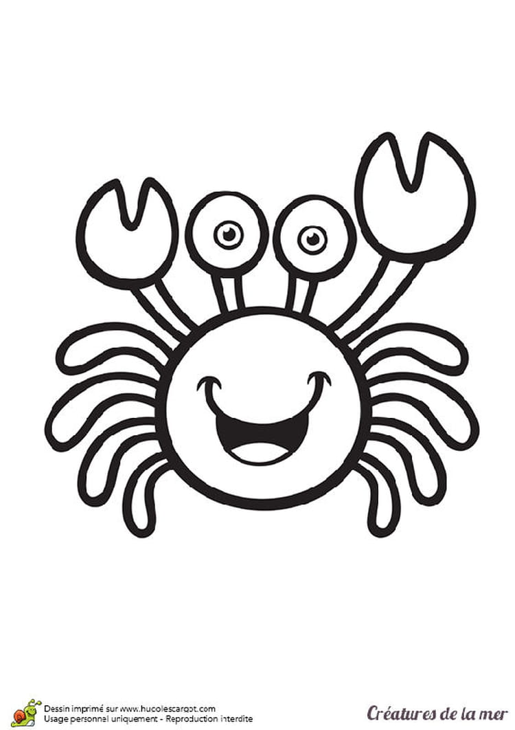 Sous l 39 oc an des coloriages pour les vacances d 39 t - Dessiner un crabe ...
