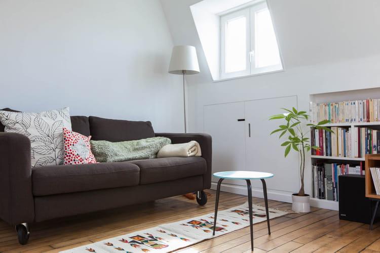 un salon modulable petit espace un chouette nid sous les combles journal des femmes. Black Bedroom Furniture Sets. Home Design Ideas