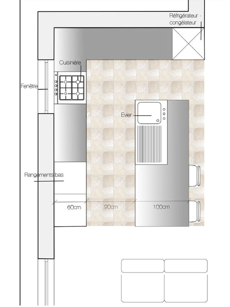 Cuisine avec lot central 5 plans pour bien am nager sa for Cuisine 12m2 ilot central