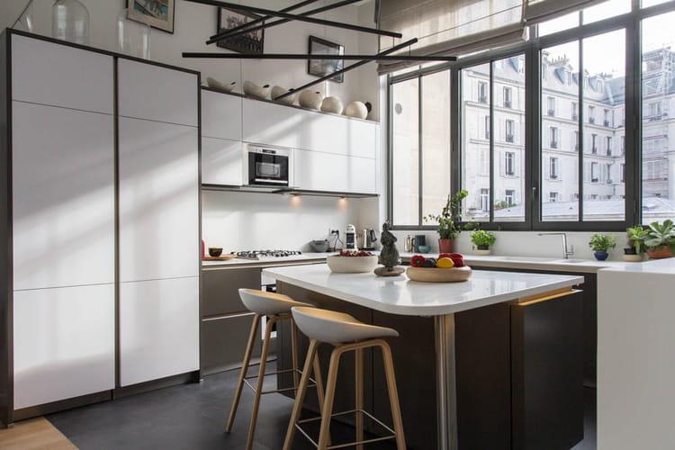 Coussin Chaise Cuisine Jysk : Une cuisine blanche et grise  Un loft arty dans une ancienne fonderie
