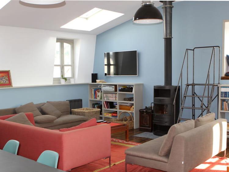 Salon chaleureux sublim de rouge et bleu le salon en for Salon chaleureux