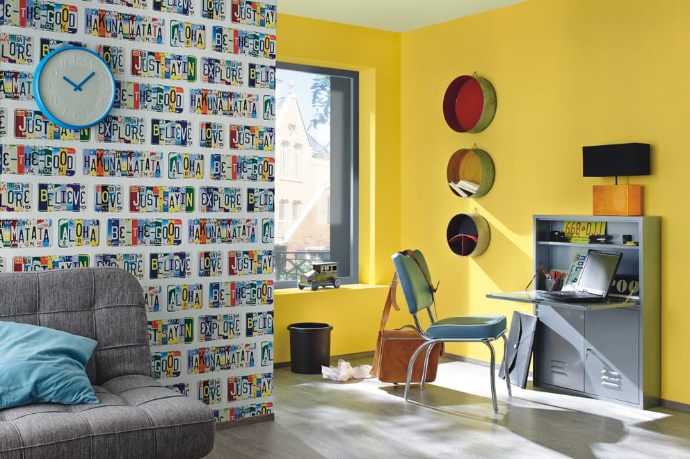 papier peint am ricain de rasch chambre d 39 enfant les. Black Bedroom Furniture Sets. Home Design Ideas