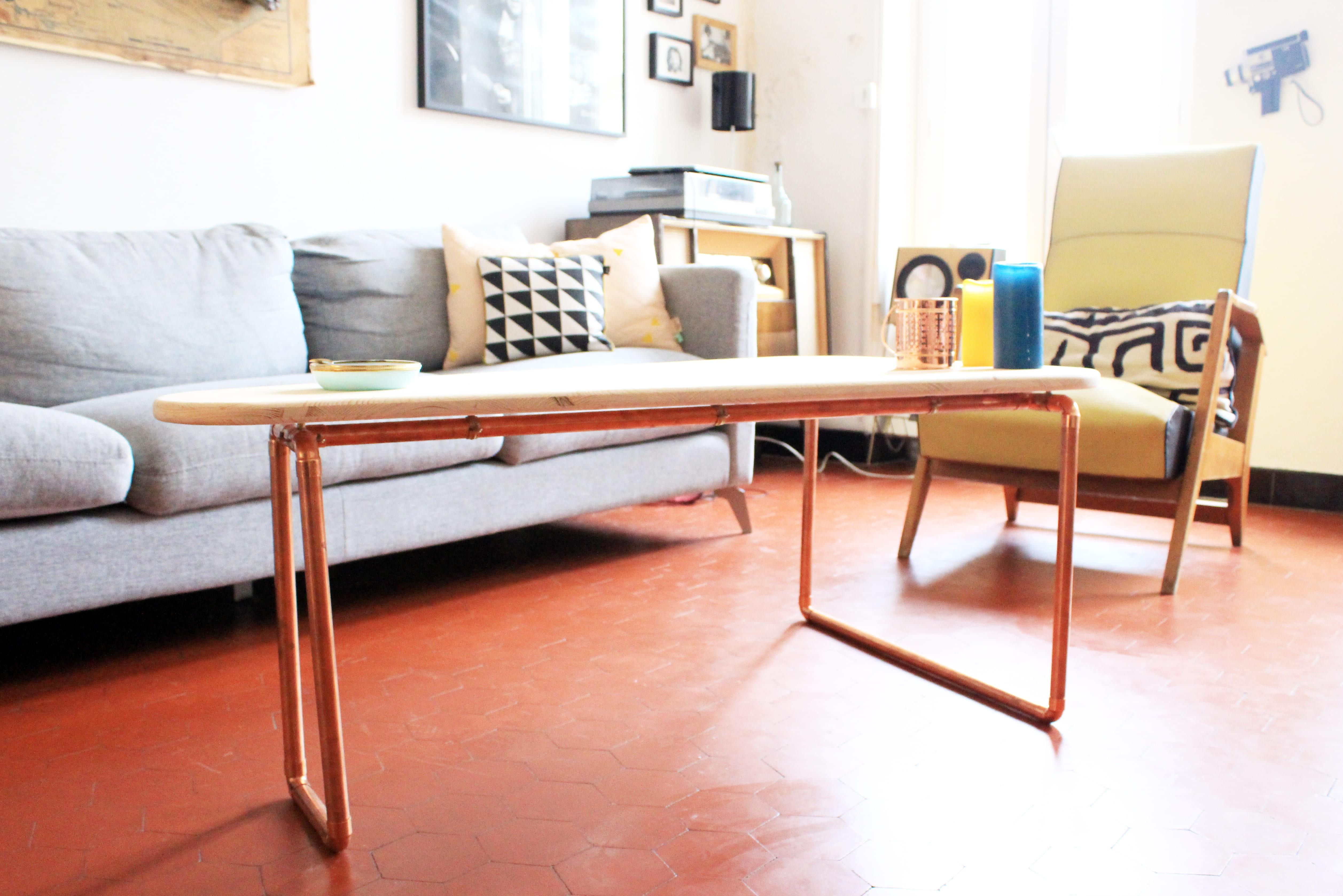 Fabriquer une table basse en bois et cuivre journal des - Comment fabriquer une table ...