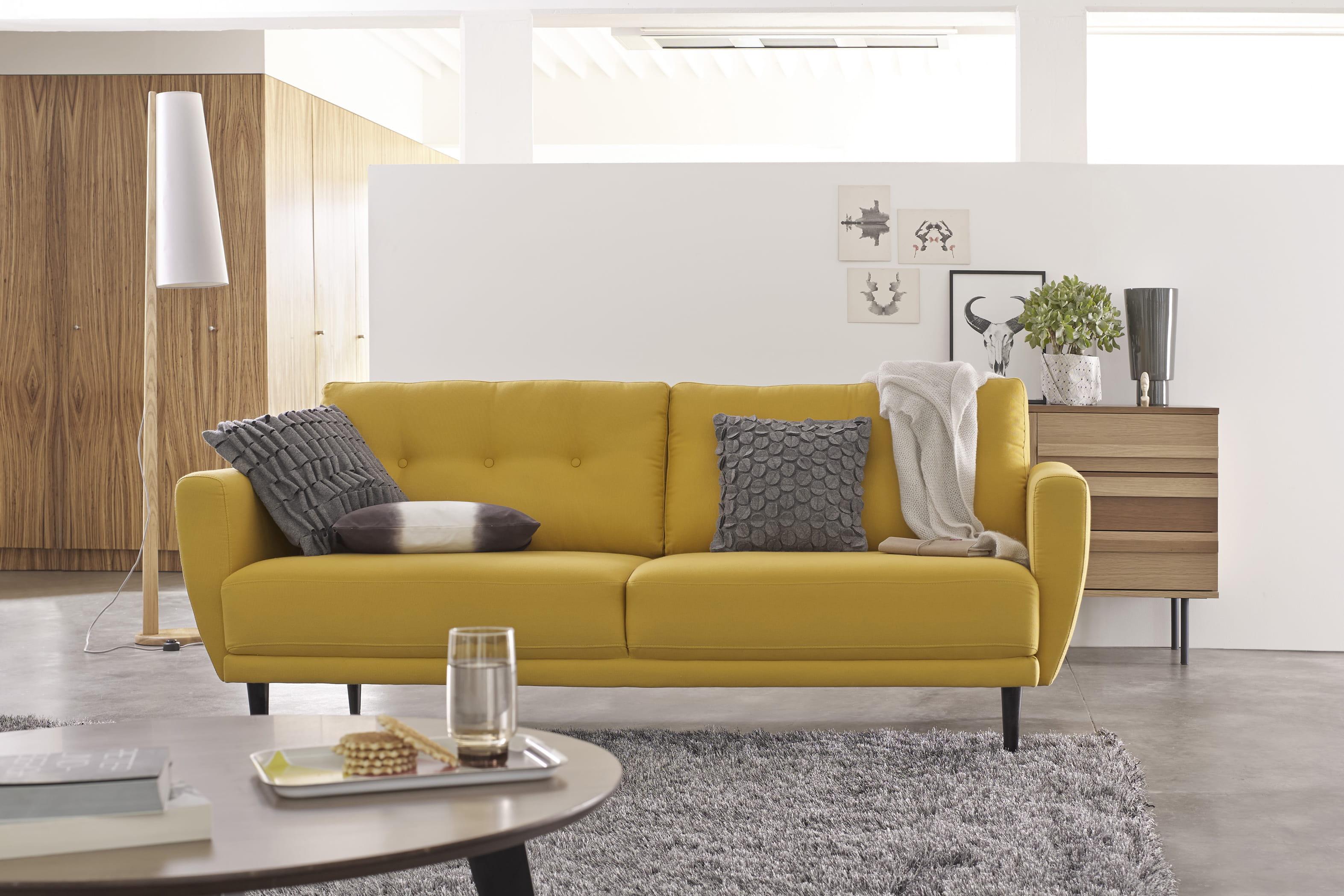 Canape cuir jaune