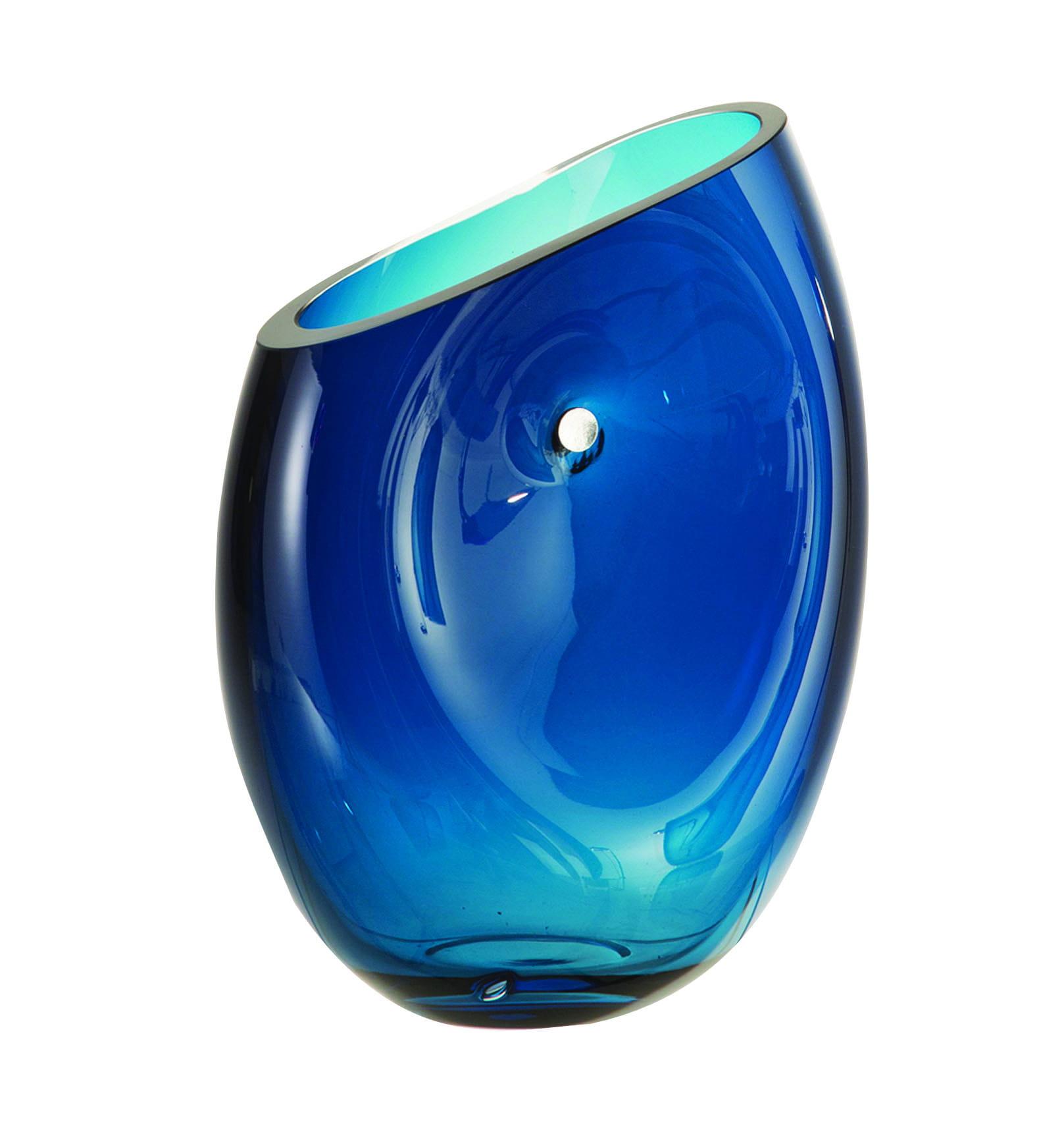 Vase nellblox bleu de roche bobois le vase en verre for Objet deco bleu