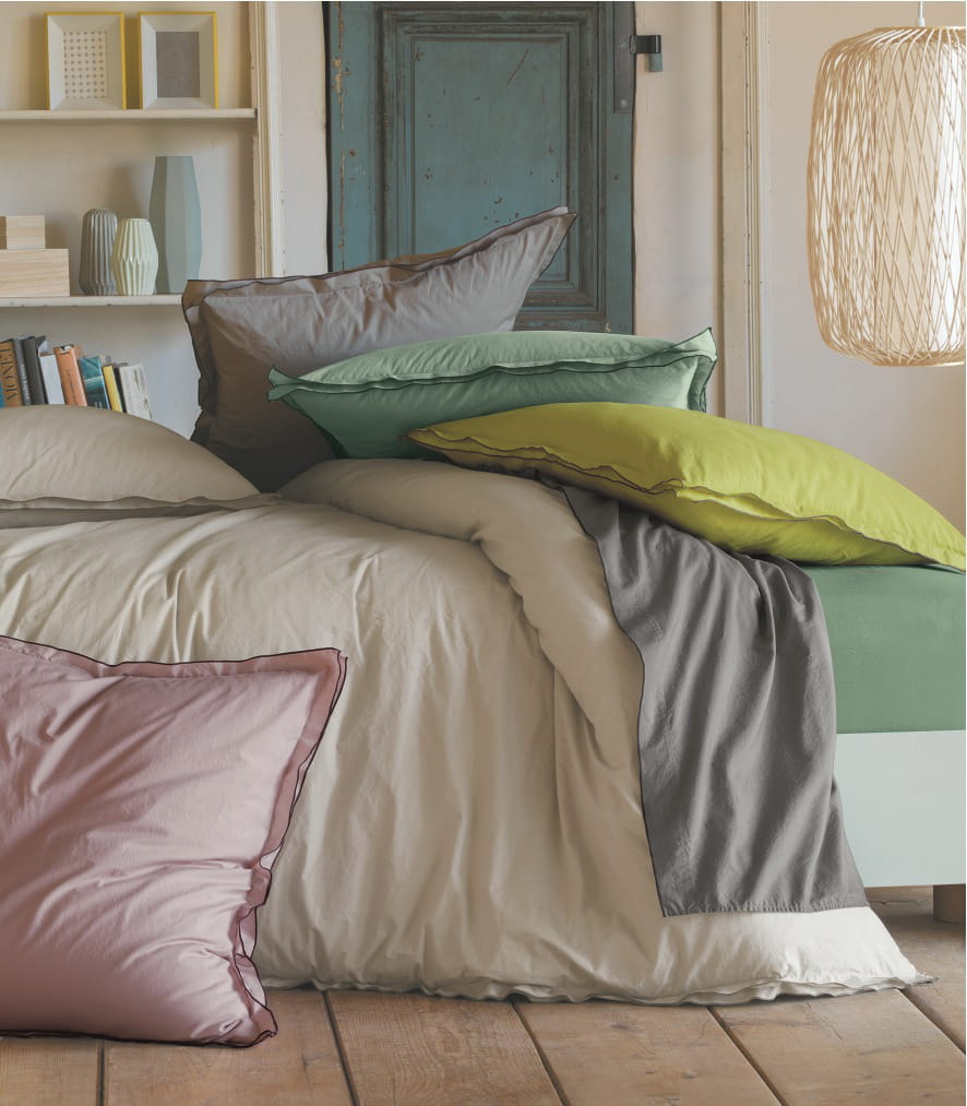 linge de lit uni percale lav e de linvosges linge de lit a sent le print. Black Bedroom Furniture Sets. Home Design Ideas