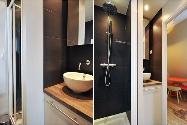 une salle d 39 eau bien pens e tout le confort moderne dans un 20 m journal des femmes. Black Bedroom Furniture Sets. Home Design Ideas