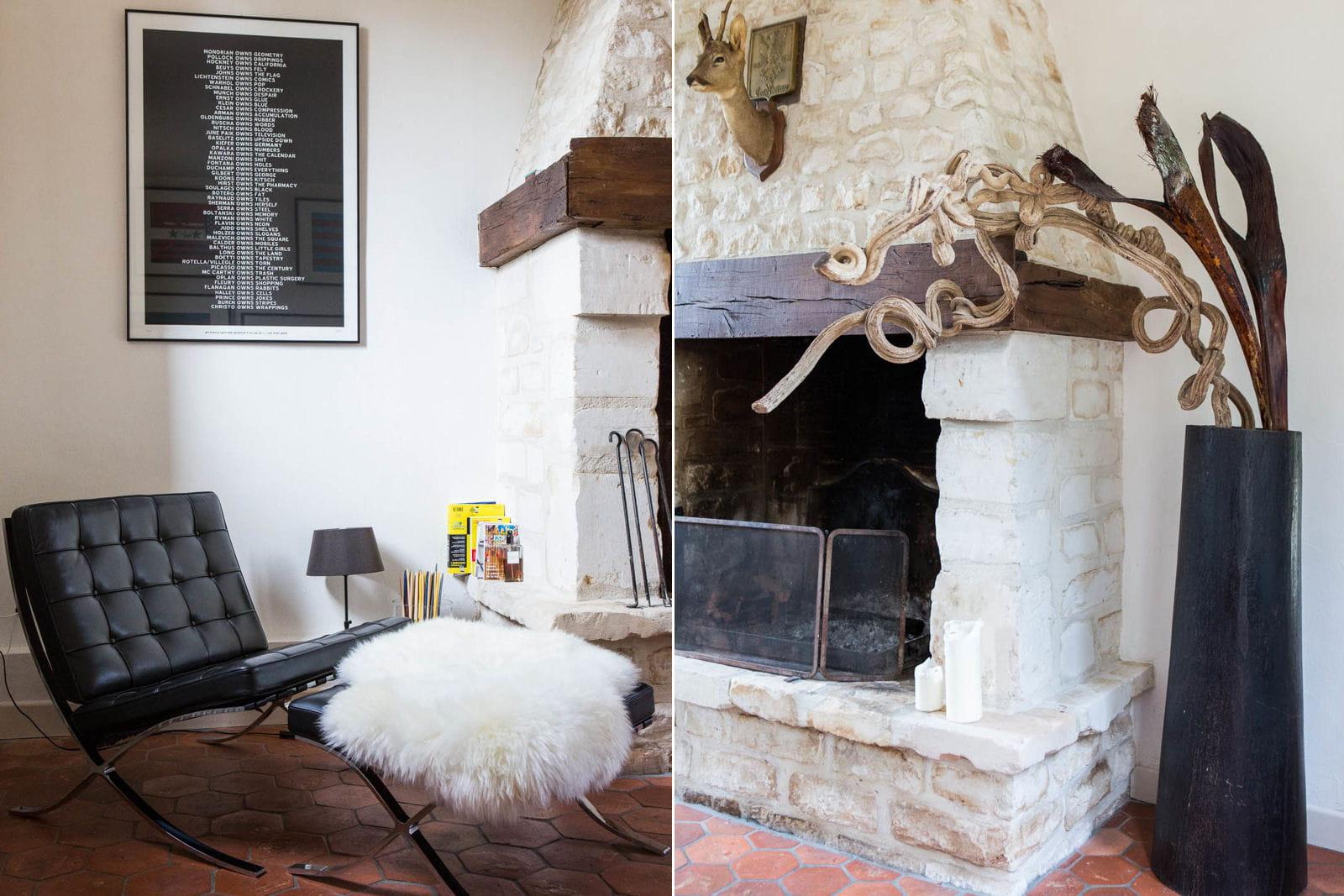 autour de la chemin e d co mix and match dans une ancienne curie journal des femmes. Black Bedroom Furniture Sets. Home Design Ideas