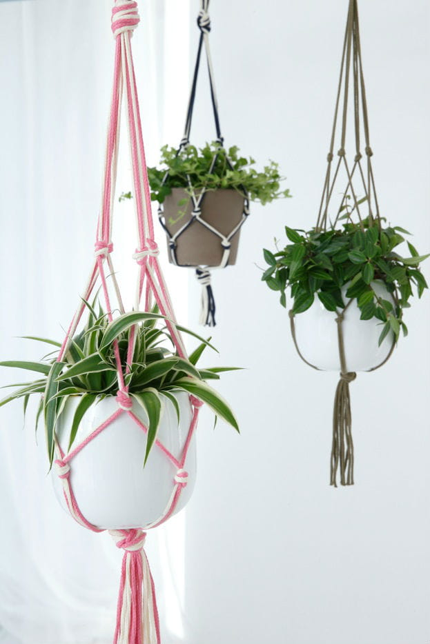 Diy une suspension en macram - Suspension pot de fleur macrame ...
