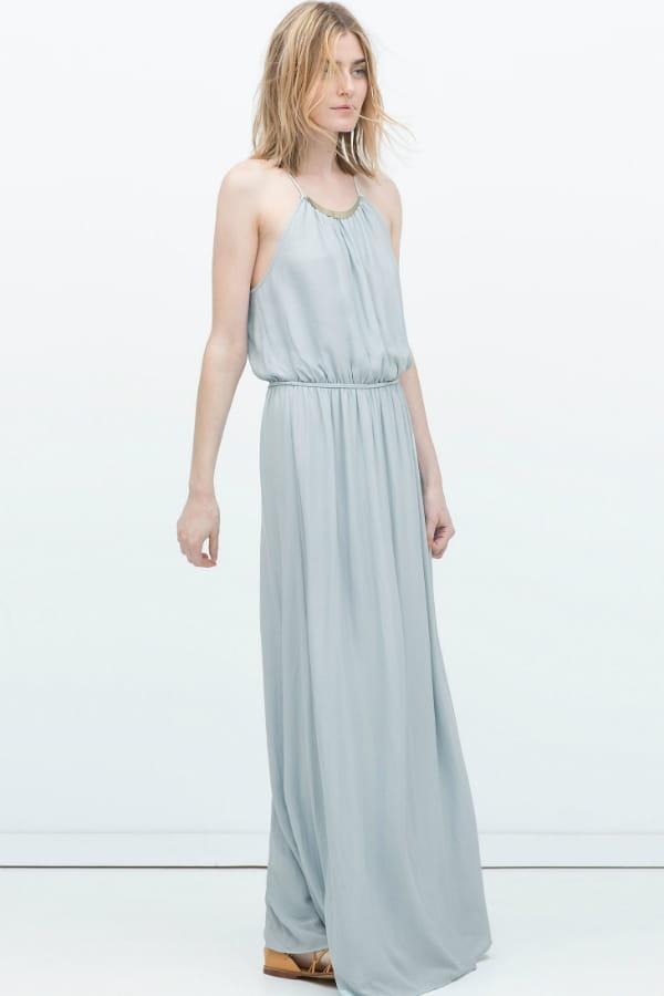 Maxi robe bleu pastel de zara tenues distingu es pour for Robe maxi au mariage