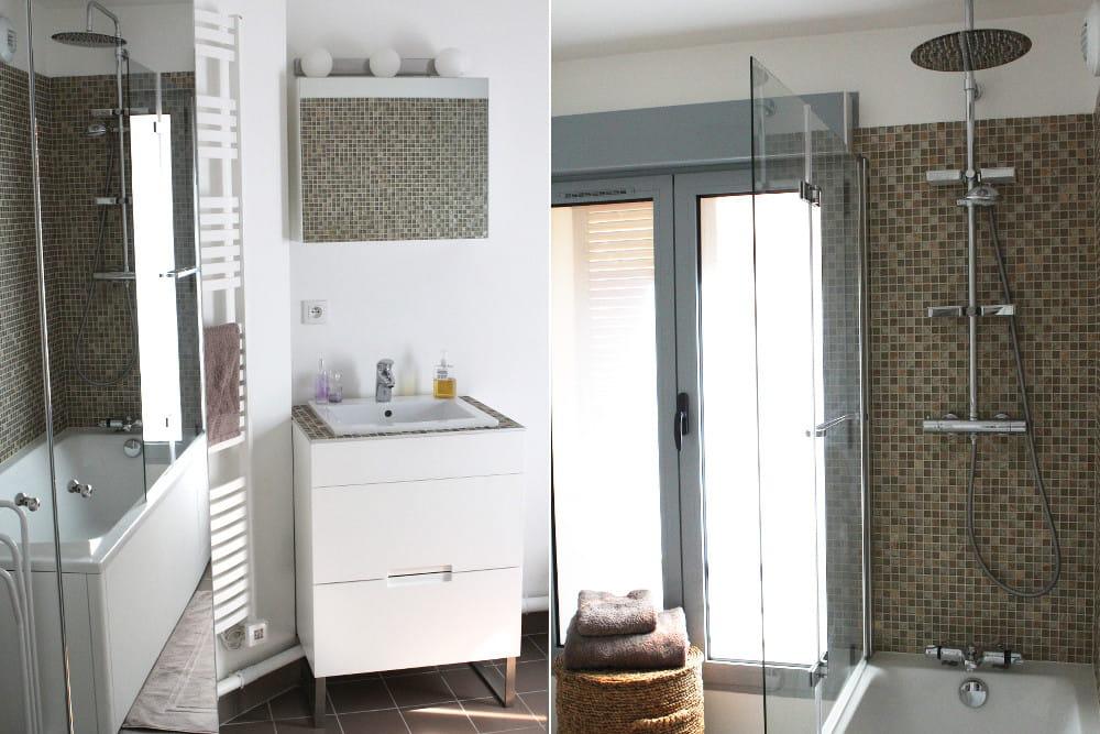salle de bains spacieuse et fonctionnelle un 50 m chic et ing nieux paris journal des femmes. Black Bedroom Furniture Sets. Home Design Ideas