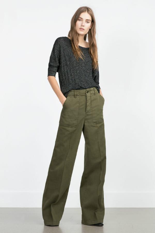 pantalon kaki de zara une rentr e du bon pied avec les nouveaut s zara journal des femmes. Black Bedroom Furniture Sets. Home Design Ideas
