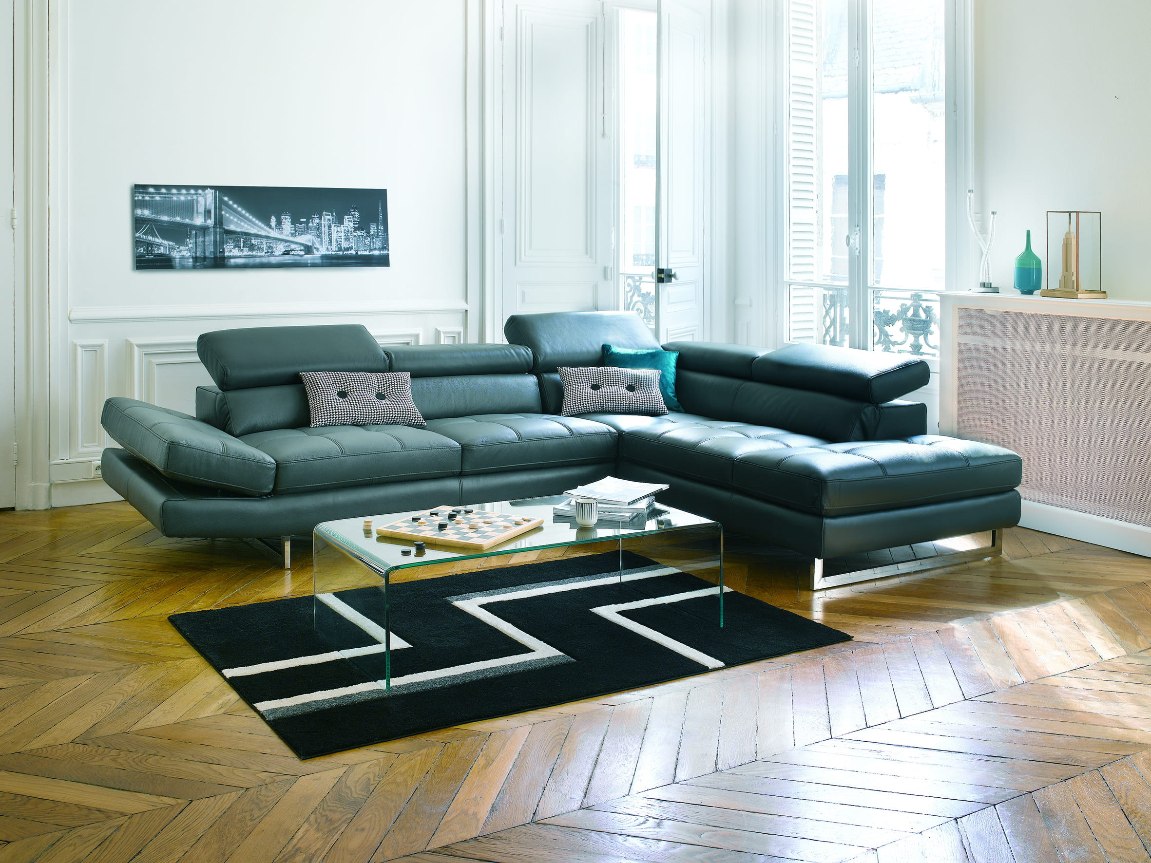 canap en cuir leman de conforama les canap s en cuir. Black Bedroom Furniture Sets. Home Design Ideas