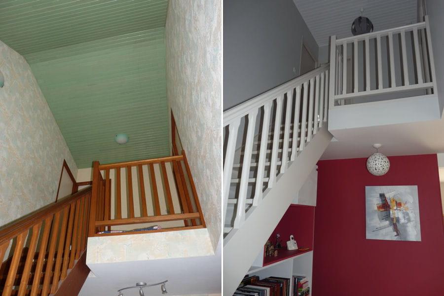la cage d 39 escalier avant apr s avant apr s coup de jeune sur une cuisine ouverte journal. Black Bedroom Furniture Sets. Home Design Ideas