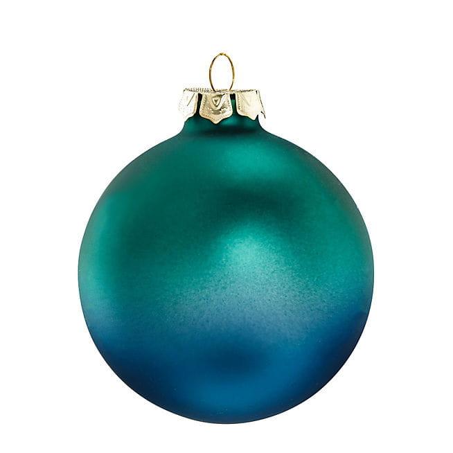 Boule en verre teint e bleu paon chez alin a d co de - Boule de noel verre souffle ...