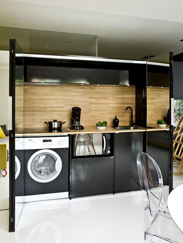 une cuisine invisible avant apr s un studio bluffant et fonctionnel journal des femmes. Black Bedroom Furniture Sets. Home Design Ideas