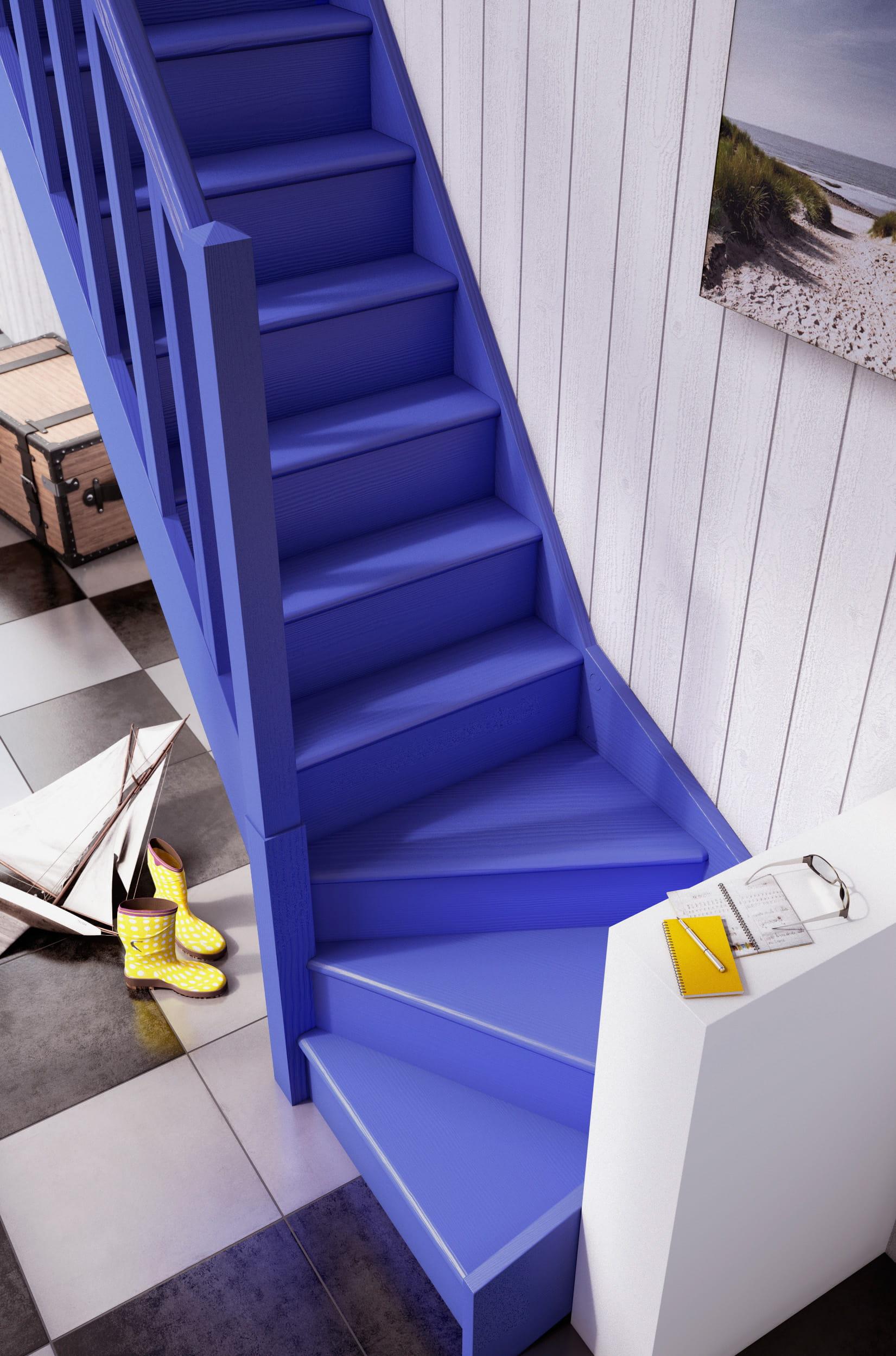 un escalier de couleur vive 10 id es pour peindre ses escaliers journal des femmes. Black Bedroom Furniture Sets. Home Design Ideas