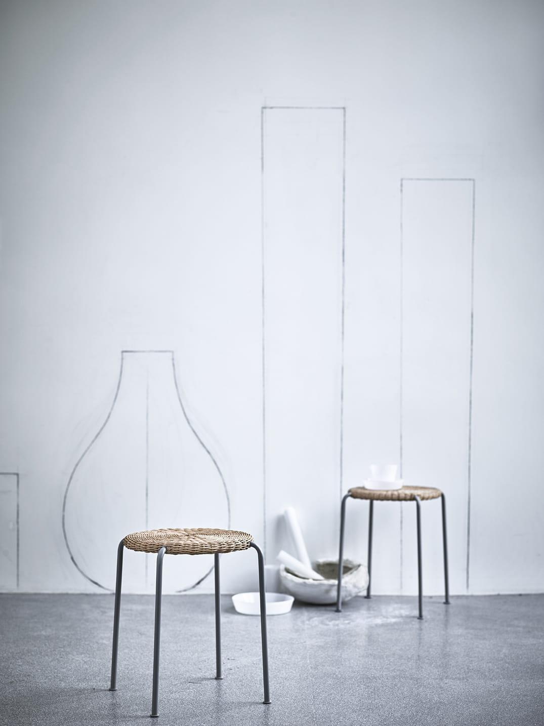 tabouret en rotin. Black Bedroom Furniture Sets. Home Design Ideas