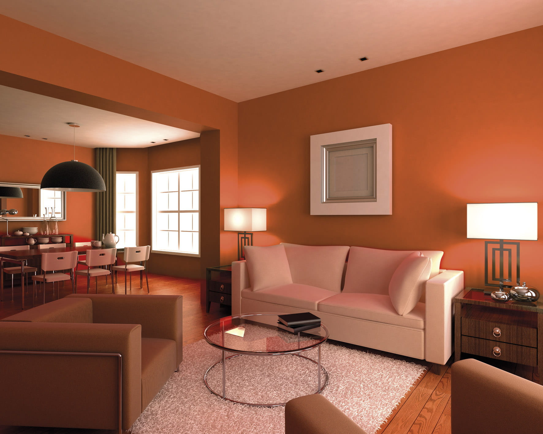 Un salon orange contemporain for Couleur salon contemporain