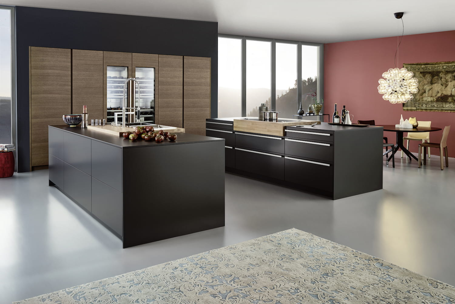cuisine noir bois inox. Black Bedroom Furniture Sets. Home Design Ideas