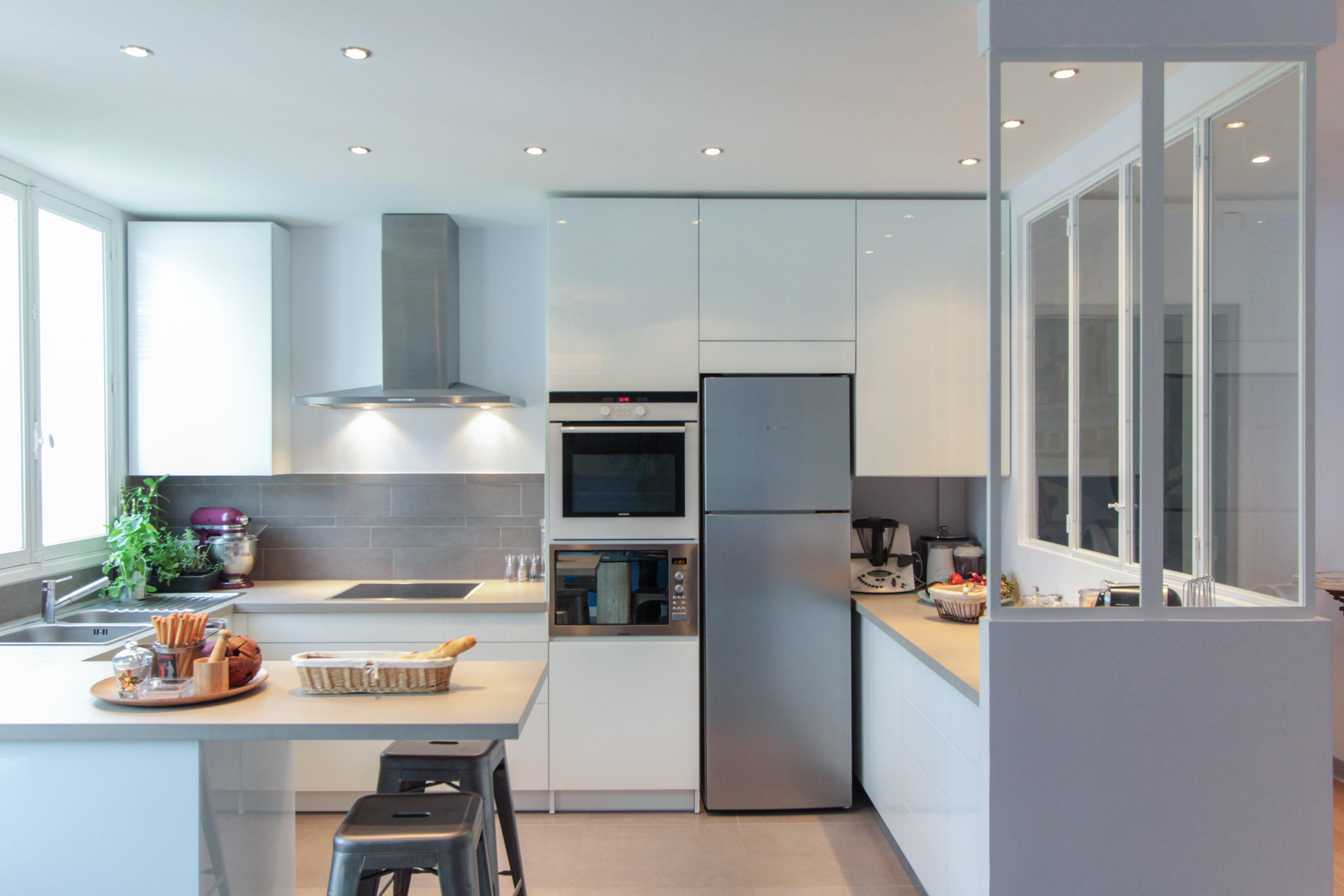 Cuisine moderne avec verri re - Creer une cuisine ouverte ...
