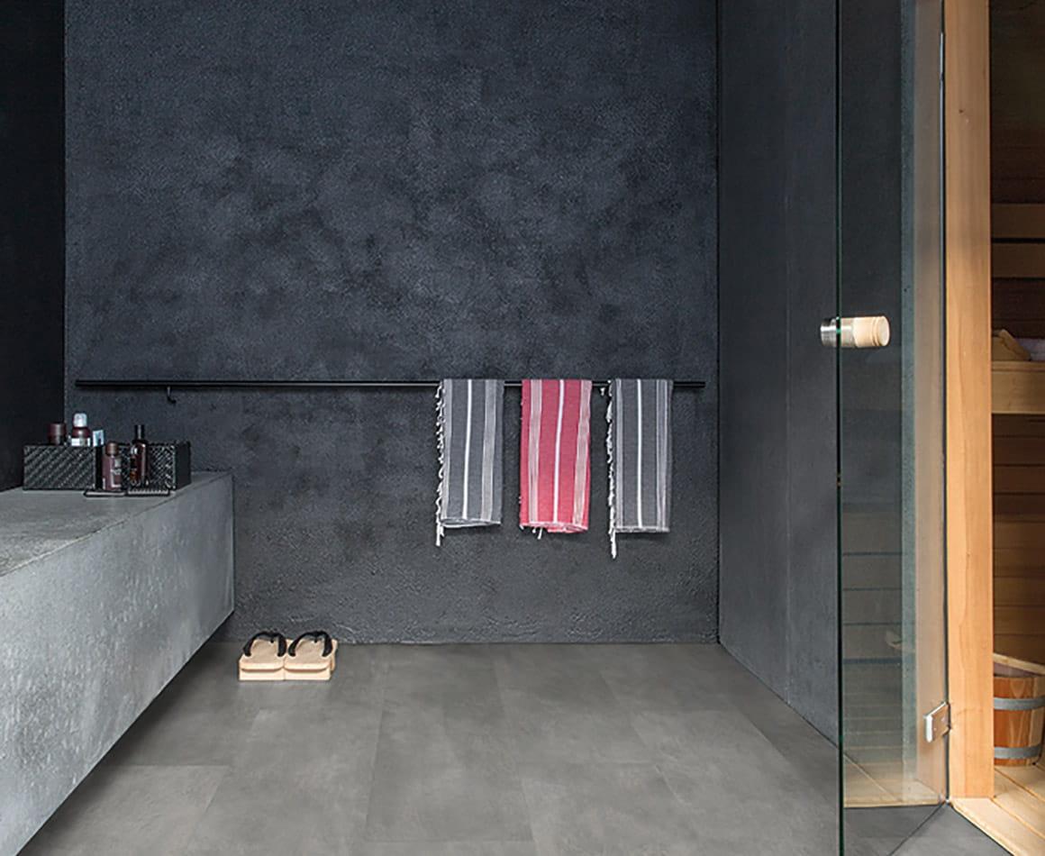 le sol en stratifi effet b ton. Black Bedroom Furniture Sets. Home Design Ideas