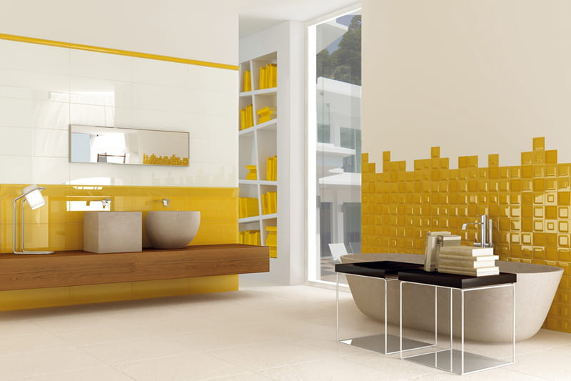 Carrelage jaune moutarde for Carrelage salle de bain gris et jaune