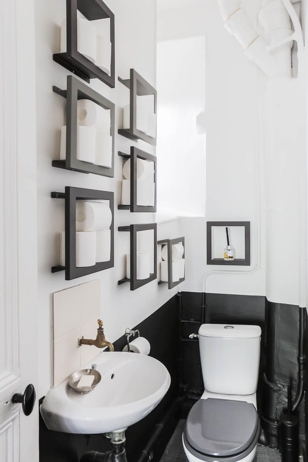 toilettes noir et blanc. Black Bedroom Furniture Sets. Home Design Ideas