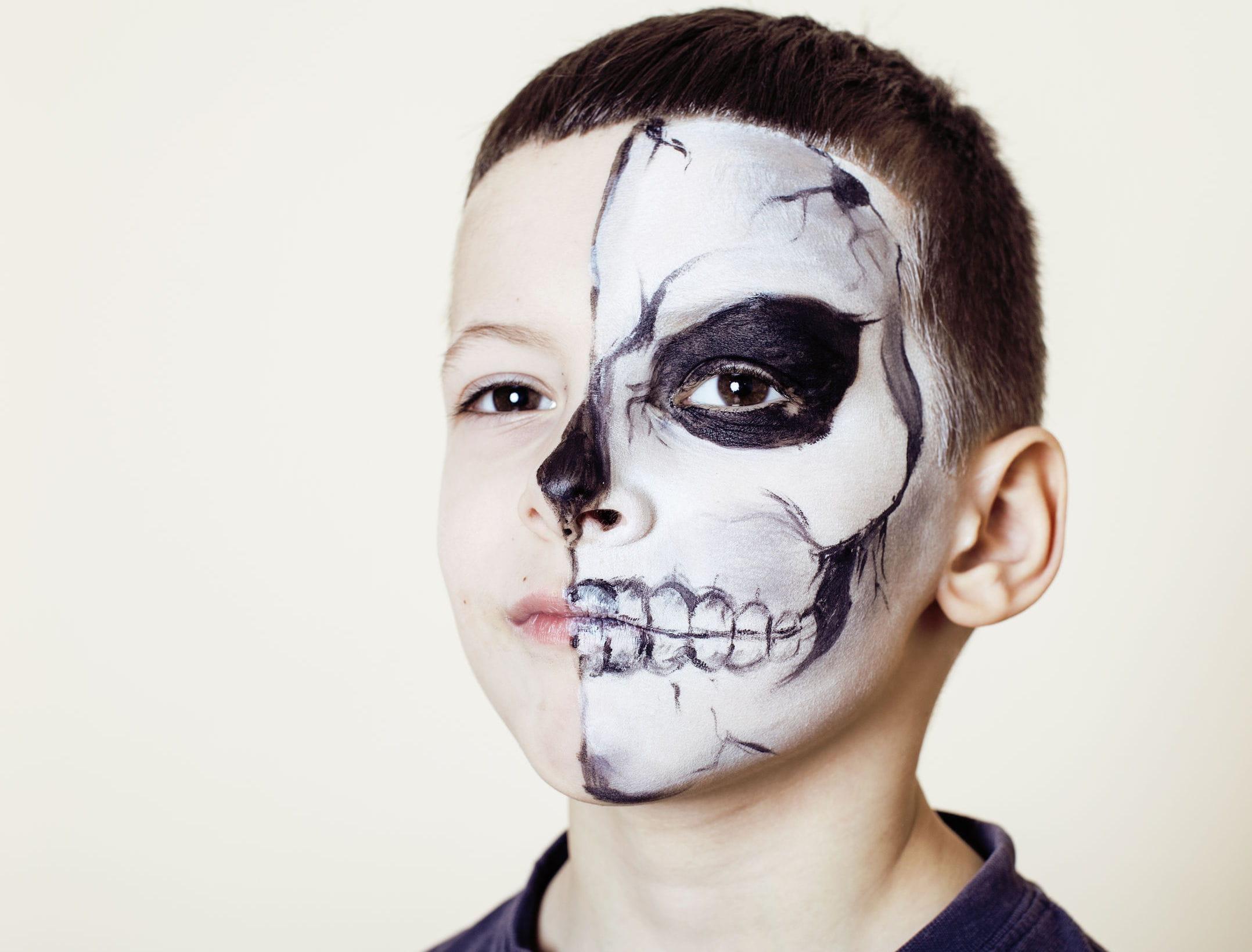 Comment maquiller mon enfant pour halloween - Maquillage halloween moitie visage ...