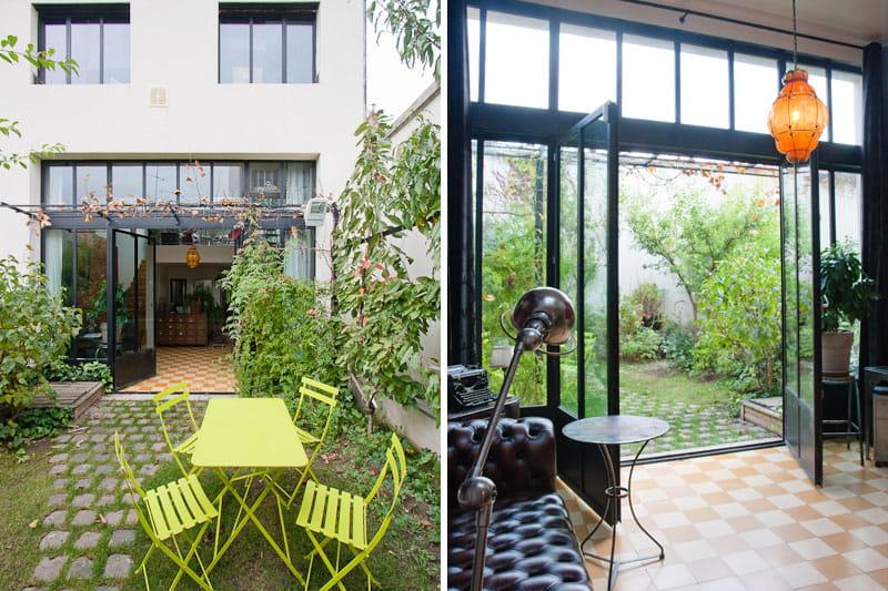 une baie vitr e qui ouvre la maison sur le jardin une maison loft qui s 39 ouvre sur l 39 ext rieur. Black Bedroom Furniture Sets. Home Design Ideas