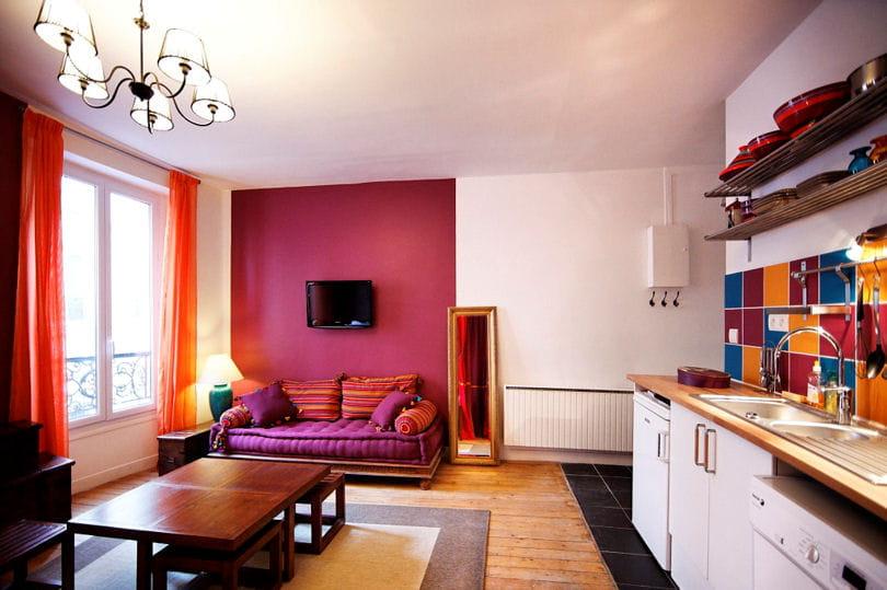 salon et cuisine relook s avant apr s le relooking boh me chic d 39 un studio journal des femmes. Black Bedroom Furniture Sets. Home Design Ideas