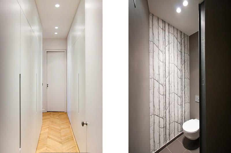 un dressing dissimul dans un couloir alliance des contrastes dans un appartement parisien. Black Bedroom Furniture Sets. Home Design Ideas
