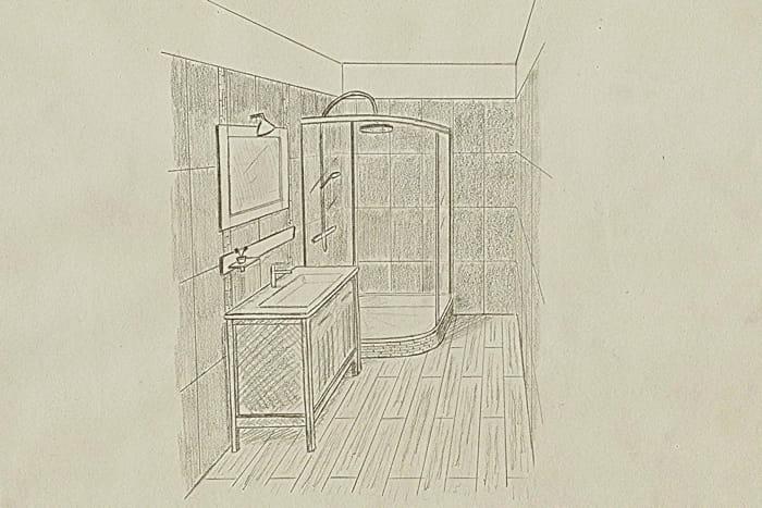 Le croquis de la salle de bains avant apr s un studio for Croquis salle de bain
