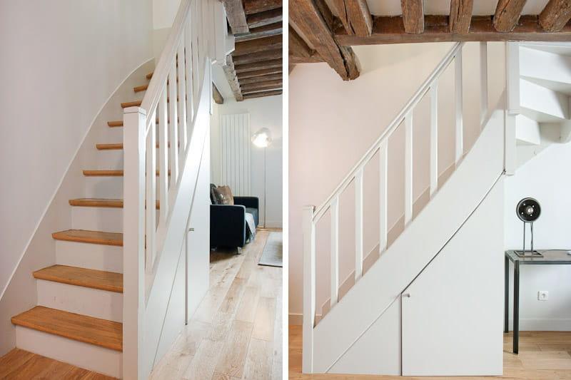 Un escalier qui dissimule un placard appartement ancien pr t pour une seconde vie journal for Peindre un escalier en bois brut