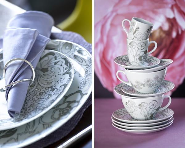 Fleurs en gris et blanc a la table du printemps journal des femmes - Vaisselle genevieve lethu ...