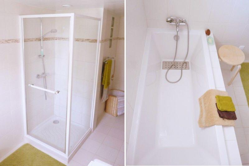 le duo douche et baignoire avant apr s une salle de bains relook e et zen journal des femmes. Black Bedroom Furniture Sets. Home Design Ideas