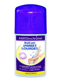 roll-on jambes lourdes, par mercurochrome.