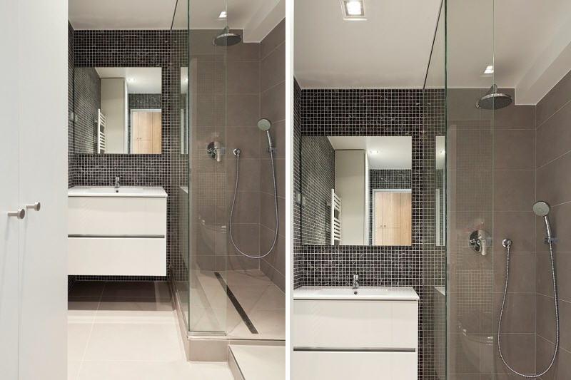une salle d 39 eau tr s chic un studio d co de 33 m bien am nag journal des femmes. Black Bedroom Furniture Sets. Home Design Ideas