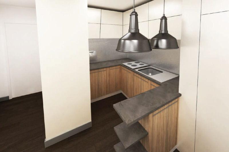 Le plan en 3d de la cuisine un studio d co de 33 m bien for Deco cuisine 3d