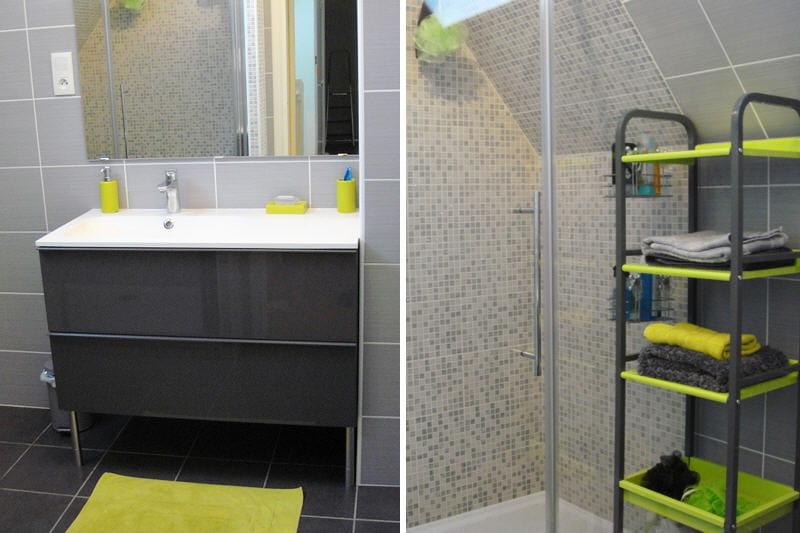La salle de bains de val rie apr s avant apr s des for Decoration salle de bain jaune et gris