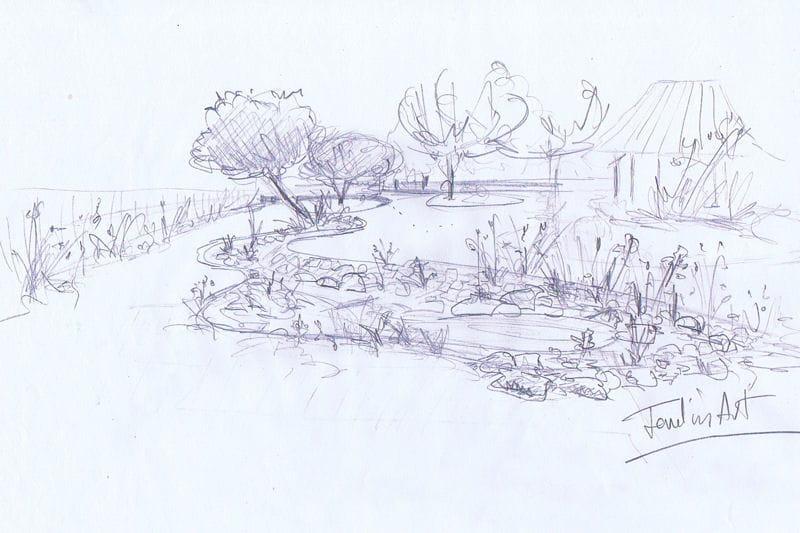 Le croquis cr ation d 39 un jardin cologique et volutif for Croquis jardin