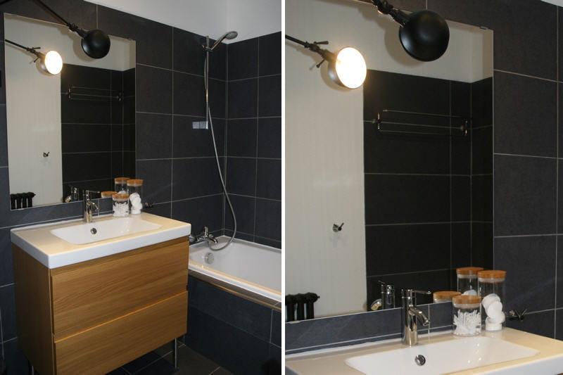 La salle de bains visitez la maison de marion journal des femmes for Plan petite salle de bain ikea