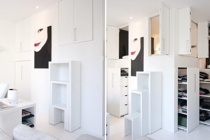 Une mezzanine placard tr s maline des rangements astucieux et patants - Lit mezzanine placard ...
