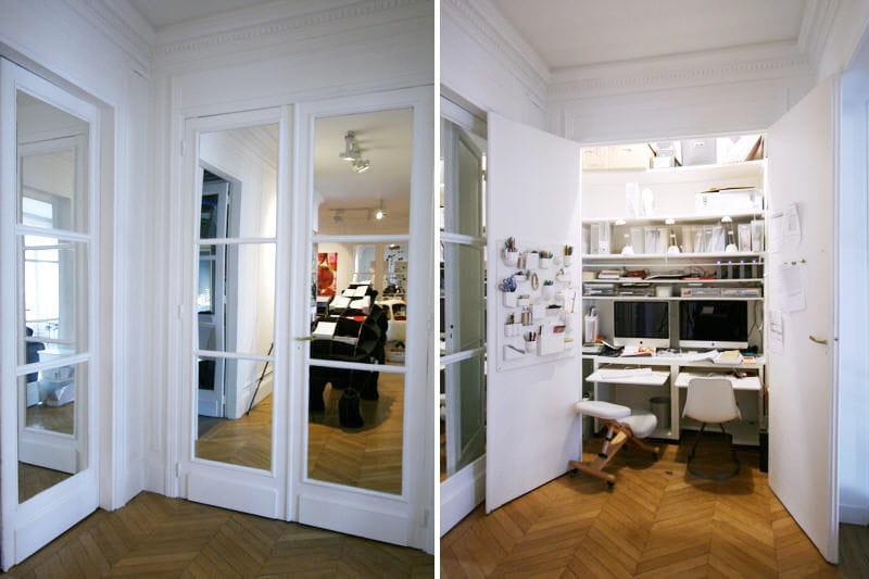 un bureau cach dans un placard des rangements astucieux et patants journal des femmes. Black Bedroom Furniture Sets. Home Design Ideas
